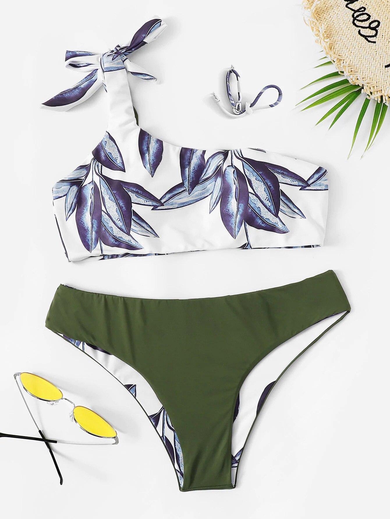 Leaf Print One Shoulder Bandeau Push Up Bikini Set Micro Bikinis Women Bowknot Swimwear Bandage Swimsuit Low Waist Bathing Suits