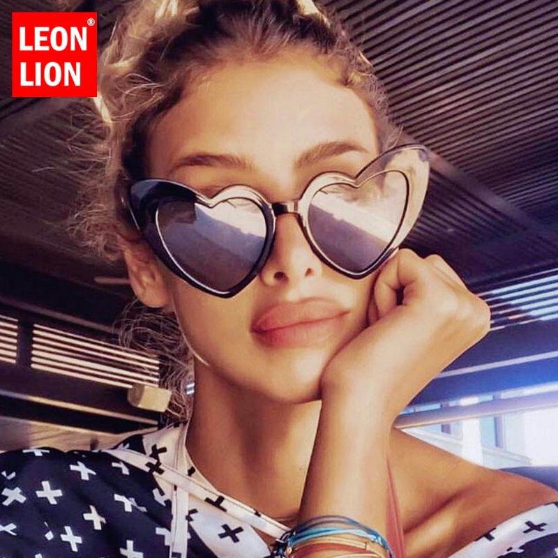 Leonlion coração oversized óculos de sol feminino marca de luxo óculos de sol feminino vintage para mulher/homem óculos de sol feminino
