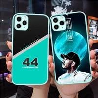 lewis hamilton 44 racing car phone case blue transparent matte for iphone 7 8 11 12 s mini pro x xs xr max plus cover shell