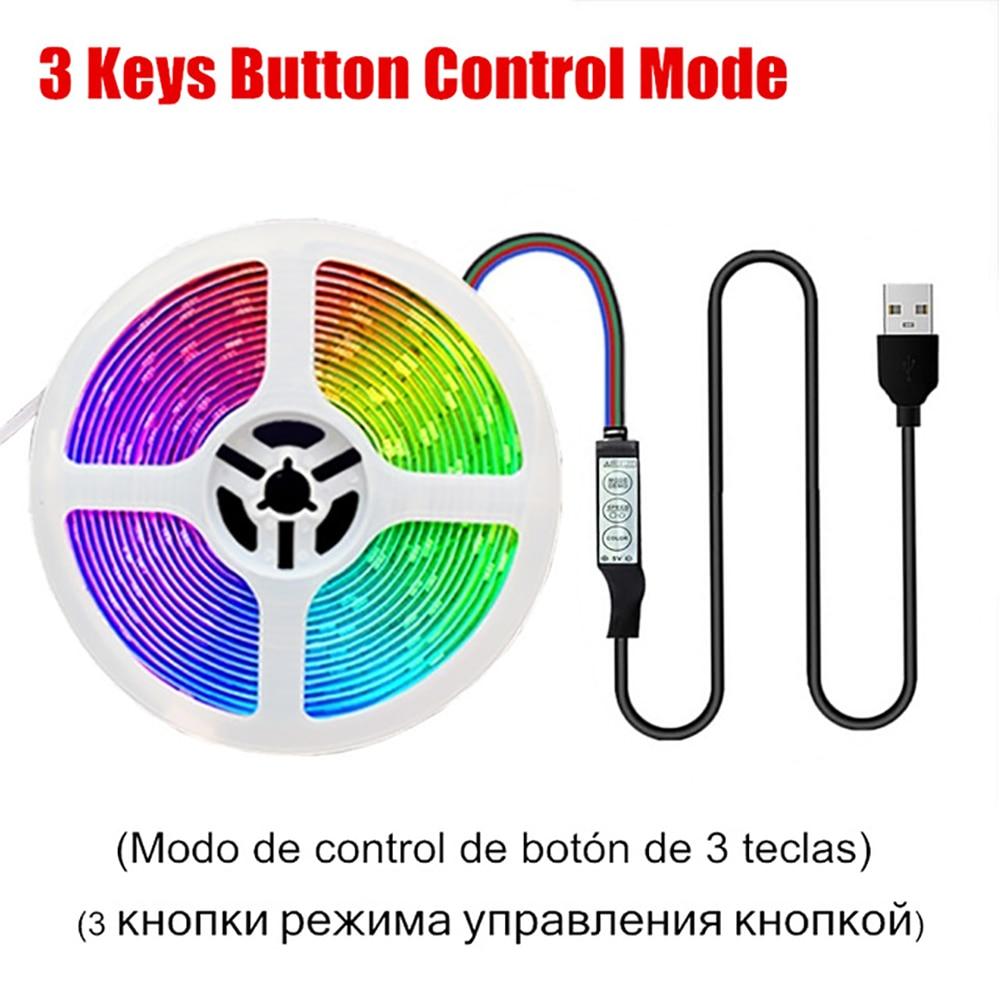 5V USB 3 Keys Control RGB 5050 Model Suitable for TV Computer Desk Decoration 1M 2M 3M 4M 5M