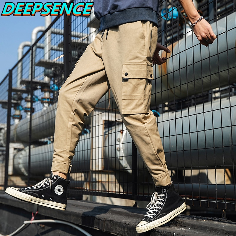 2021 Spring Autumn Casual Cargo Pants Men Cotton Solid Drawstring Pockets Korean Fashion Loose Fit A
