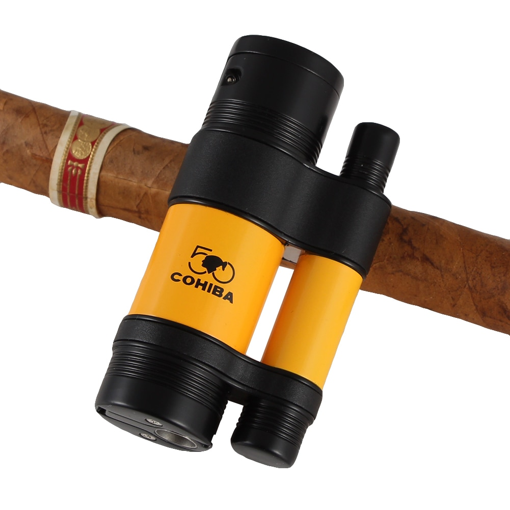 Cohiba Cigar Gadgets Set Portable Cigar Ashtray Holder 3 Jet Torch Flame Cigarette Lighter Sharp Cutter Set W/ Cigar Punch enlarge