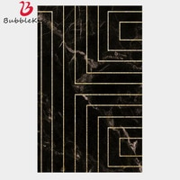Bubble Kiss Area Rug For Living Room Imitation Black Marble Gold Geometric Line Bedroom Carpet Modern Kids Decor Boy Floor Mat