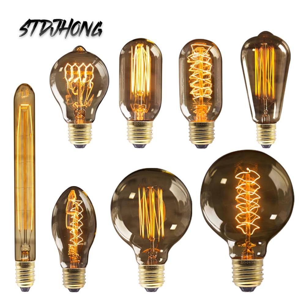 Ампулы Винтаж Эдисон лампы ретро лампы Эдисона E27 220 В 40 Вт ST64 G80 G95 G125 лампа накаливания нити светильник лампа домашнего декора