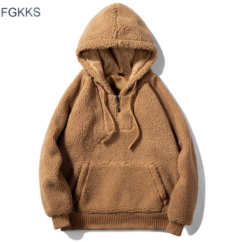 FGKKS hombres sudaderas con capucha Otoño Invierno nueva moda lana Color sólido hombres sudaderas con capucha hombre Casual Bolsillo grande sudaderas
