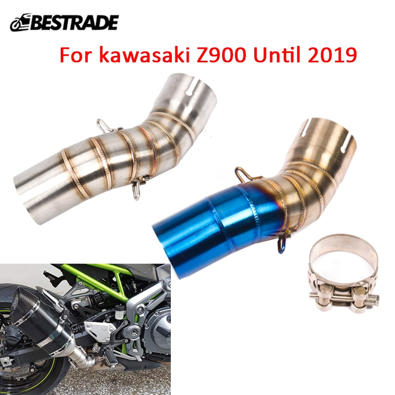 Mid Tip For kawasaki Z900 Motorcycle Middle Connecting Link Pipe Slip On 51mm Exhaust Silencer System Tail Tube Stainless Steel