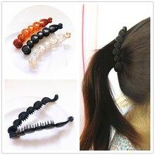 10 Cm Free Hair Style forcine per capelli Banana Clip per capelli per donna Solid Tortie forma di perla artiglio per capelli Twist porta coda di cavallo Rena Chris