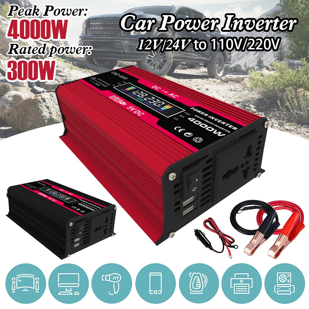 new 300w 400w 500w 600w power inverter converter dc 12v to 220v ac cars inverter with car adapter Car Power Inverter DC 12V to AC 110/220V Car Converter with 2.4A Dual USB Car Adapter, LCD Display and AC Outlet Dropshipping