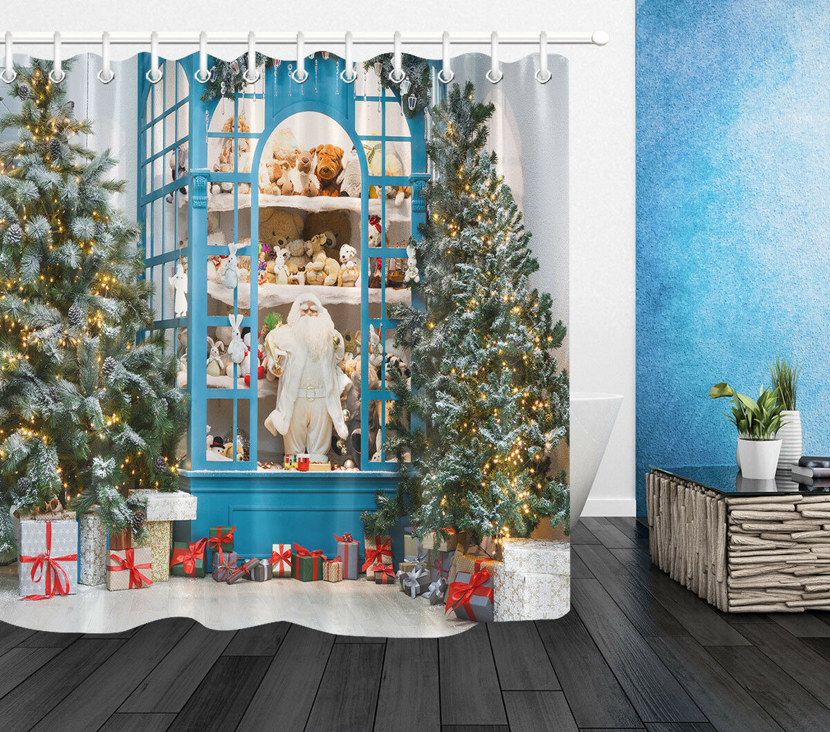 100% Polyester tissu arbre de noël jouet armoire rideau de douche ensemble salle de bain crochets