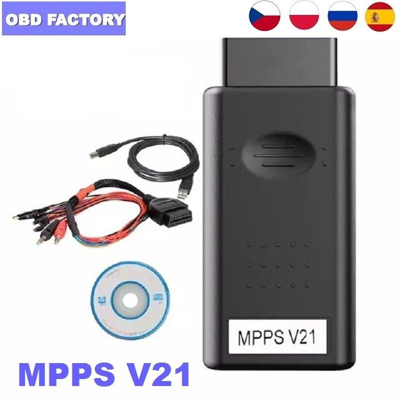 10 pces mpps 16 multi-idioma pode flasher obd2 mpps v21 auto ecu chip tuning interface mpps v16 v18 para edc15 edc16 edc17