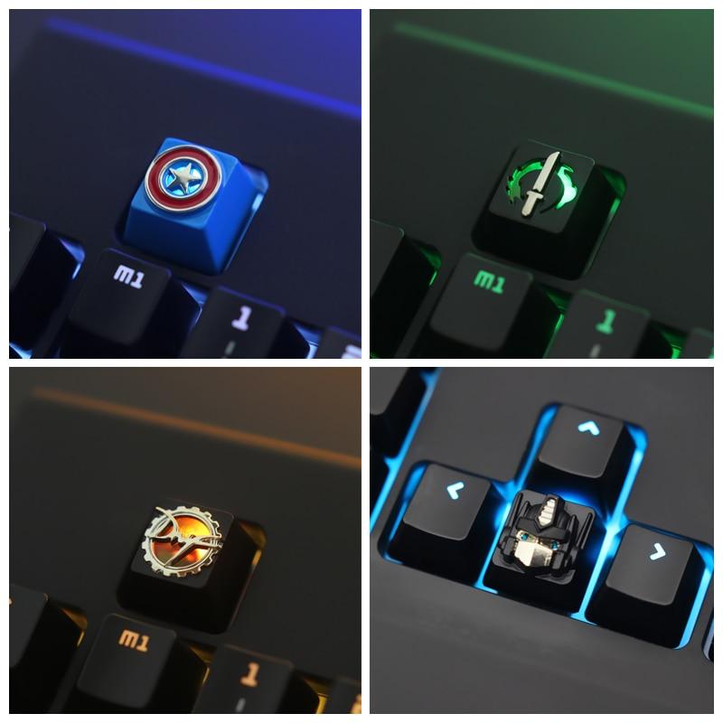 Keycap 1 pces jogos e anime zinco-alumínio chave boné teclado mecânico keycaps para teclado mecânico r4 altura