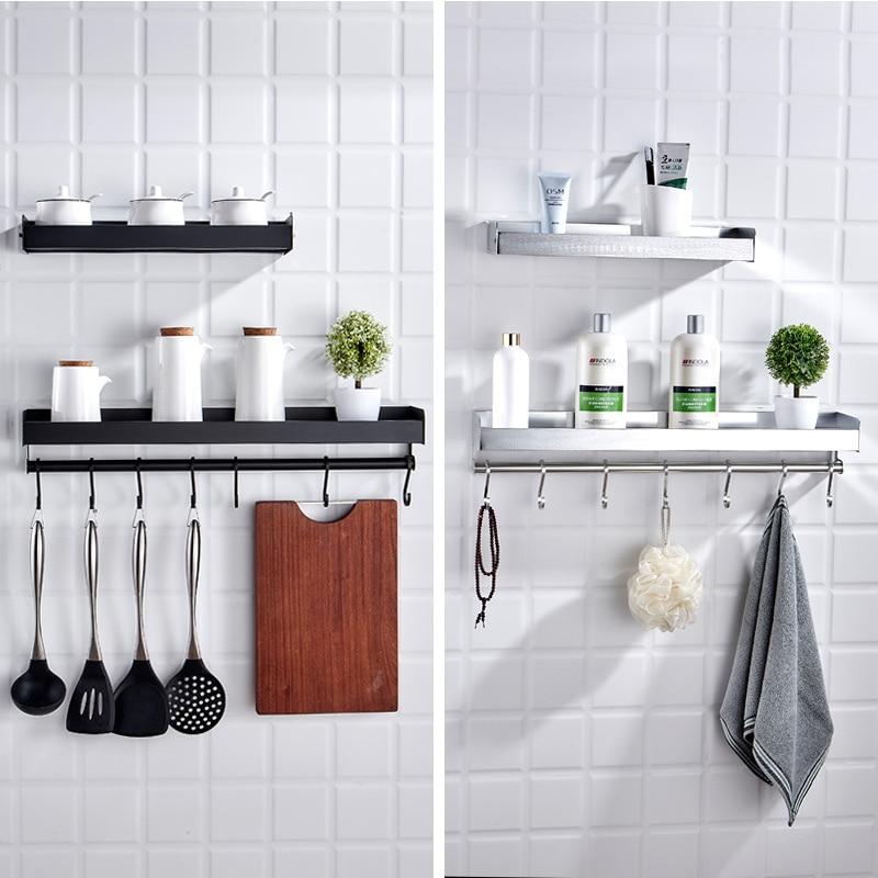 Estante de cocina montado en la pared de aluminio negro condimento aceite sal vinagre suministros punzón gratis estante para almacenaje de cocina suministros