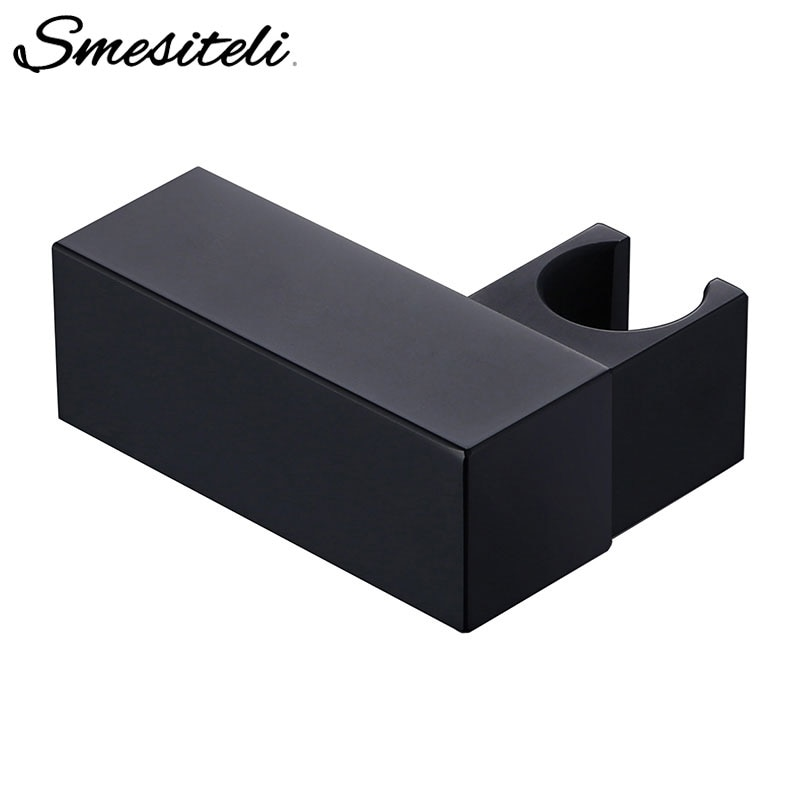 Smesiteli Handheld Shower Head Fixing Bracket Black Squre Small Brass Wall-Mounted Fixed Bathroom Accessories