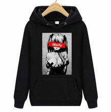 WAMNI Hoodies Sweatshirts Waifu Material hoodies Otaku Lewd Hentai Cute Girl Anime Ahegao T hoodies for Men StreetWear