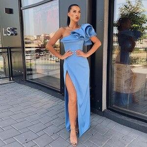 Лори одно плечо без рукавов Синий Атлас Вечерние платья Русалка длинное формальное платье для выпускного вечера Клубные вечерние платья с высоким разрезом