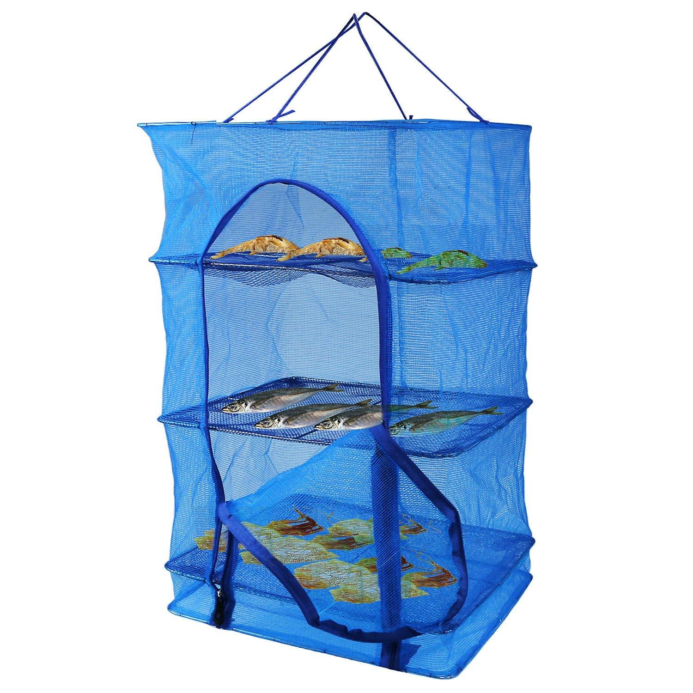شبكة السمك معلقة تجفيف صافي الغذاء ديهيدراتور دائم للطي 4 طبقات الأسماك الخضار أطباق مجفف صافي تجفيف الرف