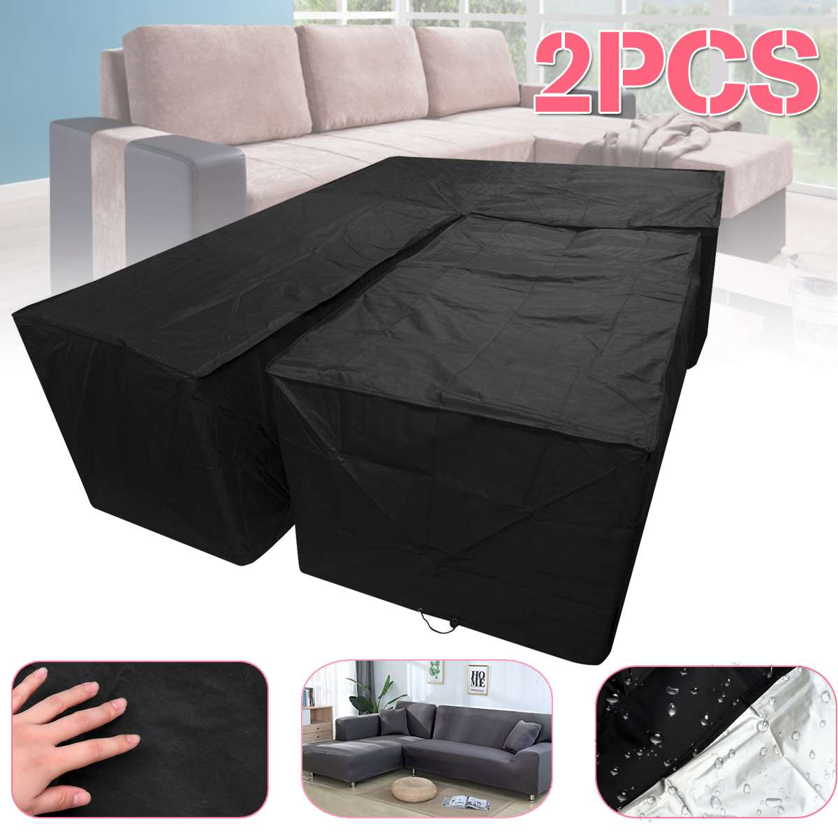 Cubierta protectora Rectangular de 2 unidades por juego, cubierta de sofá para muebles de jardín al aire libre, tela a prueba de polvo en forma de L, cubierta de esquina impermeable para todo uso