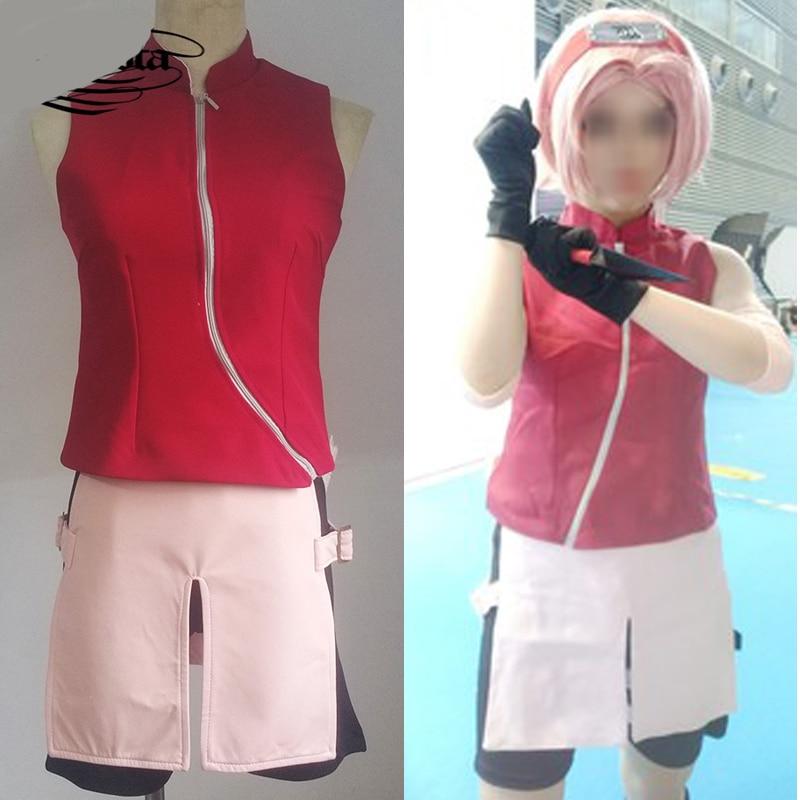 Naruto Cosplay Costume gilet ensemble accessoires bandeau sur mesure Haruno Sakura perruques cheveux courts rose Naruto Cosplay Halloween pour les femmes