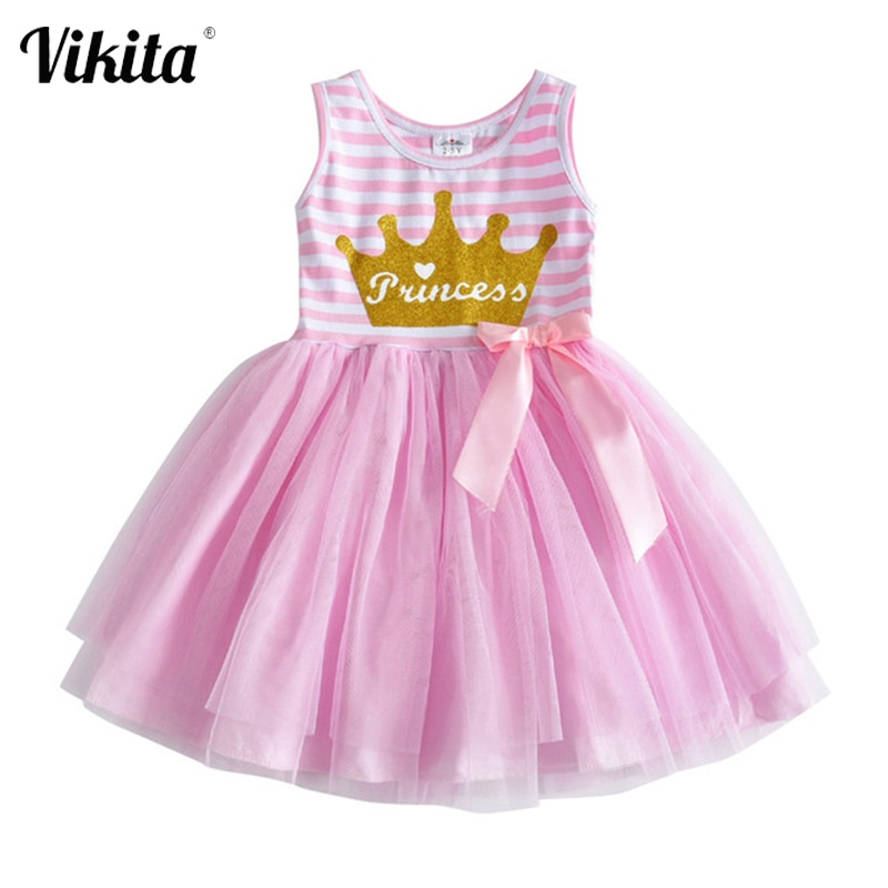 Vestido de princesa para niñas VIKITA vestido de unicornio para niñas Vestidos de verano sin mangas Vestidos tutú para niñas Vestidos de dibujos animados para niñas
