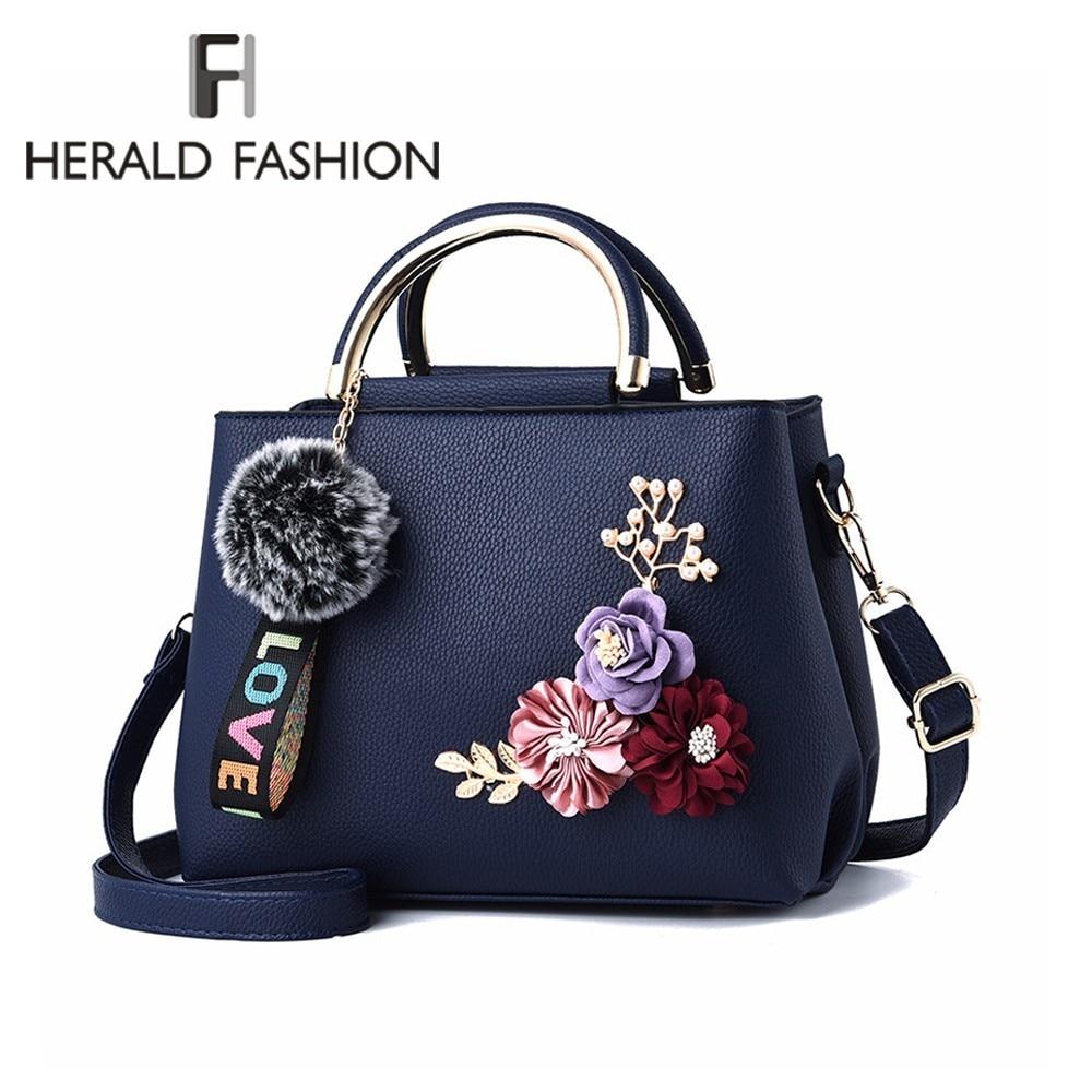 Herald moda feminina hanbag com bola de cabelo qualidade couro feminino flor bolsa de ombro casual sacola senhoras saco do mensageiro sac