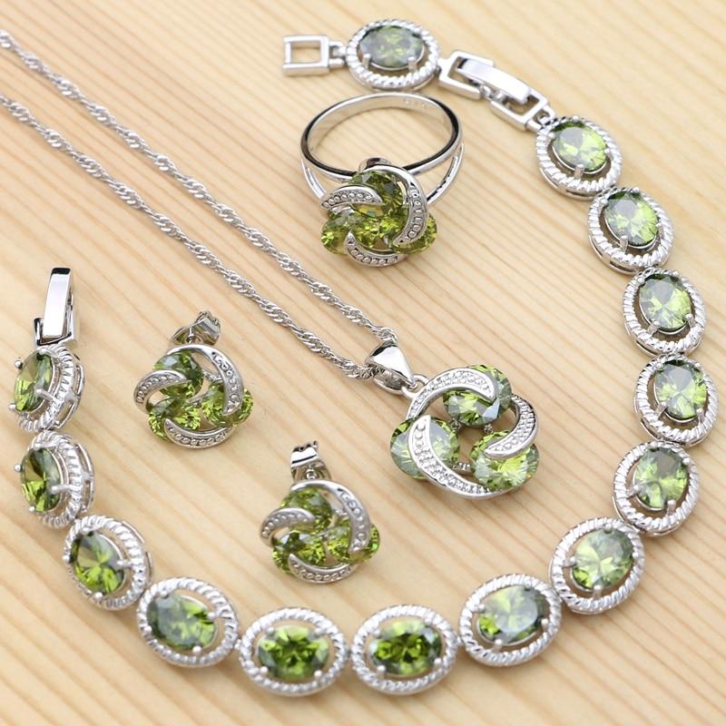 925-Серебряное-винтажное-искусственное-оливковое-зеленое-кубическое-циркониевое-кольцо-браслет-ожерелье-подвеска-гвоздик