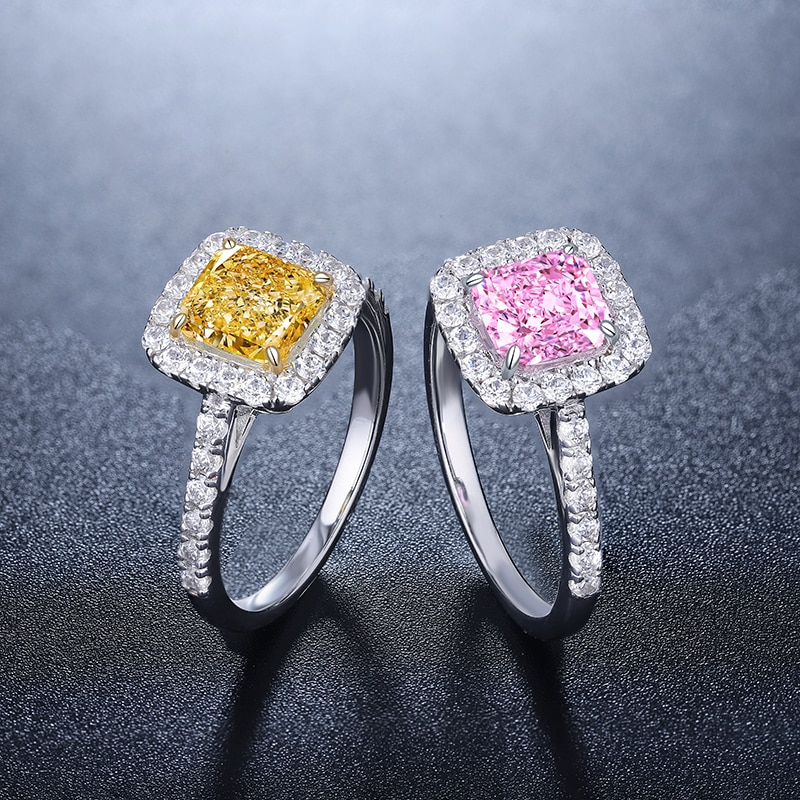 Zhanhao Fashion Jewelry Radiant Cut 1.0ct Hot Sale Simulated Fancy Diamond Ring In 925 Sterling Silver