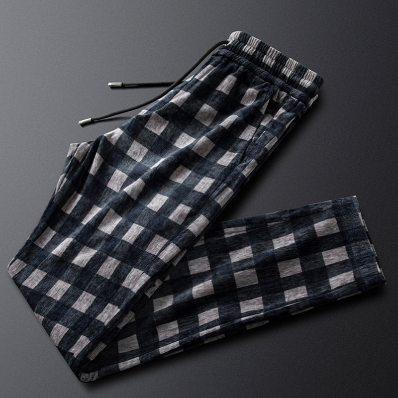 Fall/winter corduroy plaid casual pants men's self-cultivation feet drape drawstring trousers men's Korean style trendy pants
