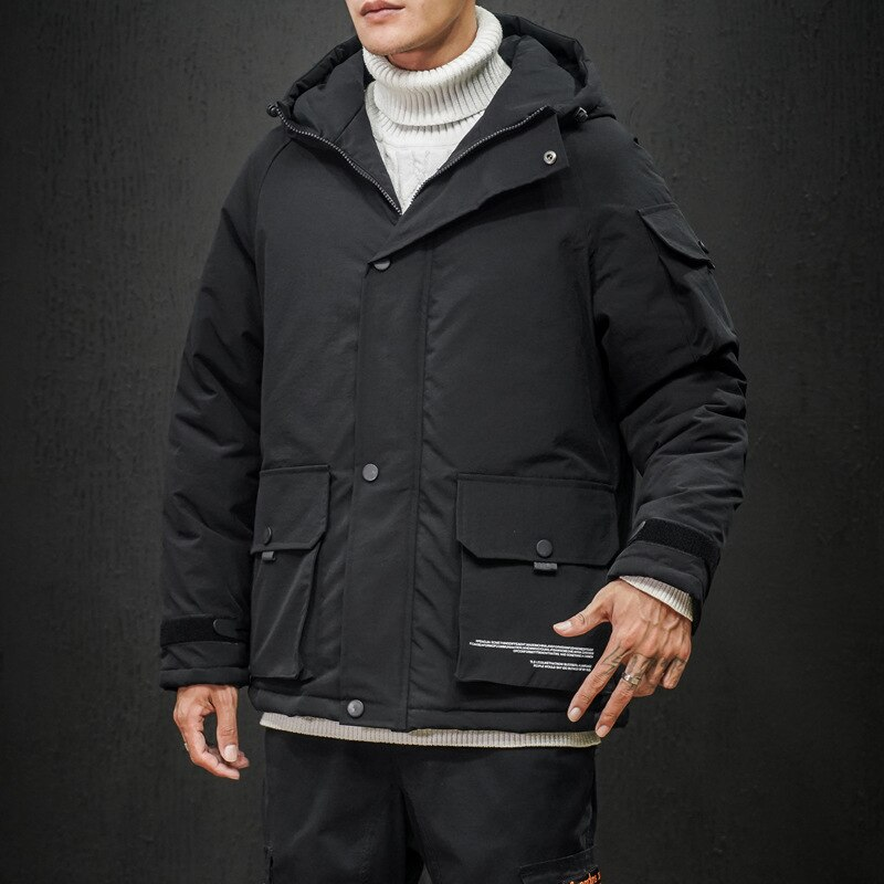 Alta qualidade jaqueta de inverno com capuz grosso quente parka casaco casual solto curto dos homens casaco multi-bolso algodão carga parkas