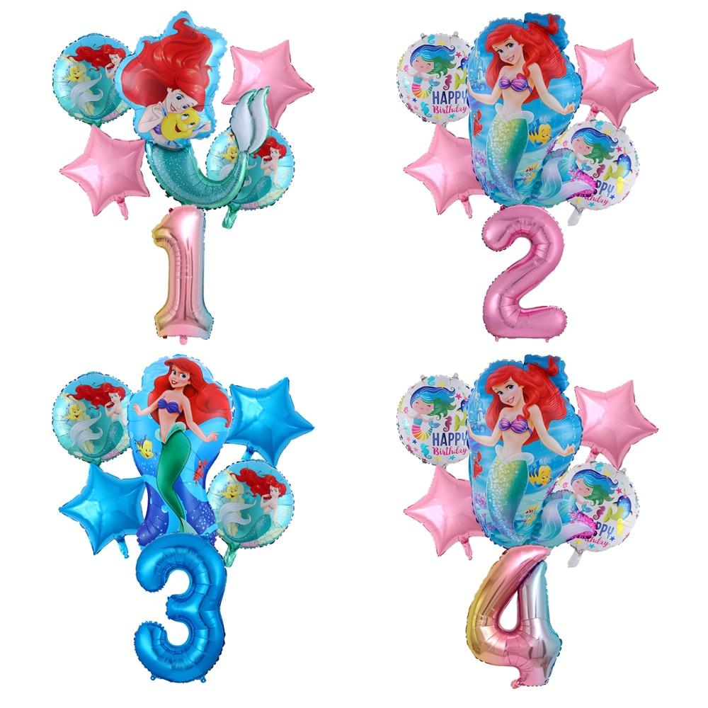 Lote de 6 globos de dibujos animados para globos de papel de aluminio de la Sirenita, número de 32 pulgadas, globos de aire rosa para niña bebé, globos de decoración para fiesta de cumpleaños, juguetes para niños