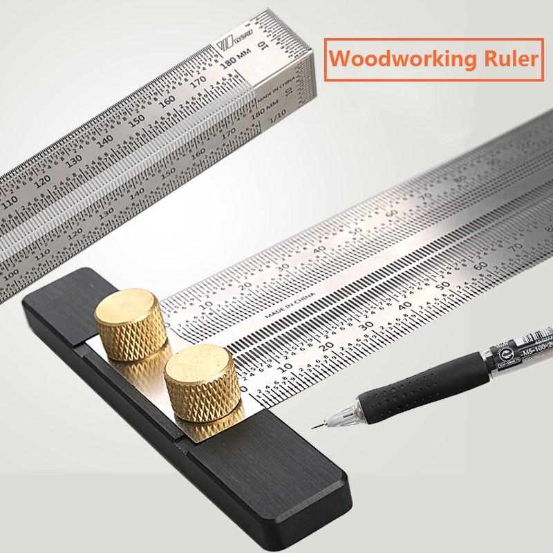 Calibrador de línea de marcado para carpintería, regla tipo T, inglete cuadrado, medidor de 90 grados, calibrador de carpintero, herramienta DIY