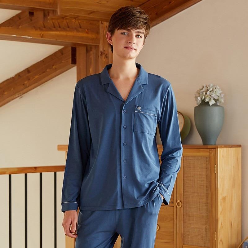 Pajamas Spring Autumn Men Sleep Set 2PCS Sleepwear Soft Modal Nightwear Shirt&pant Casual Loose Pijamas Suit Homewear Negligee