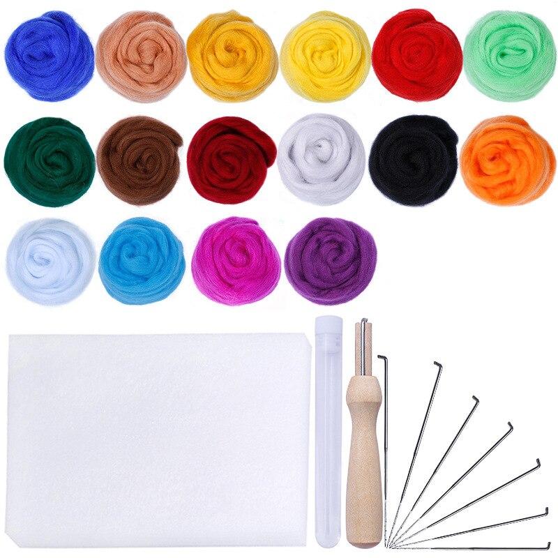MIUSIE 16 colores lana manualidad de fieltro de aguja para fieltro para principiantes tela hilado de mecha de hilado de coser molde costura Accesorios
