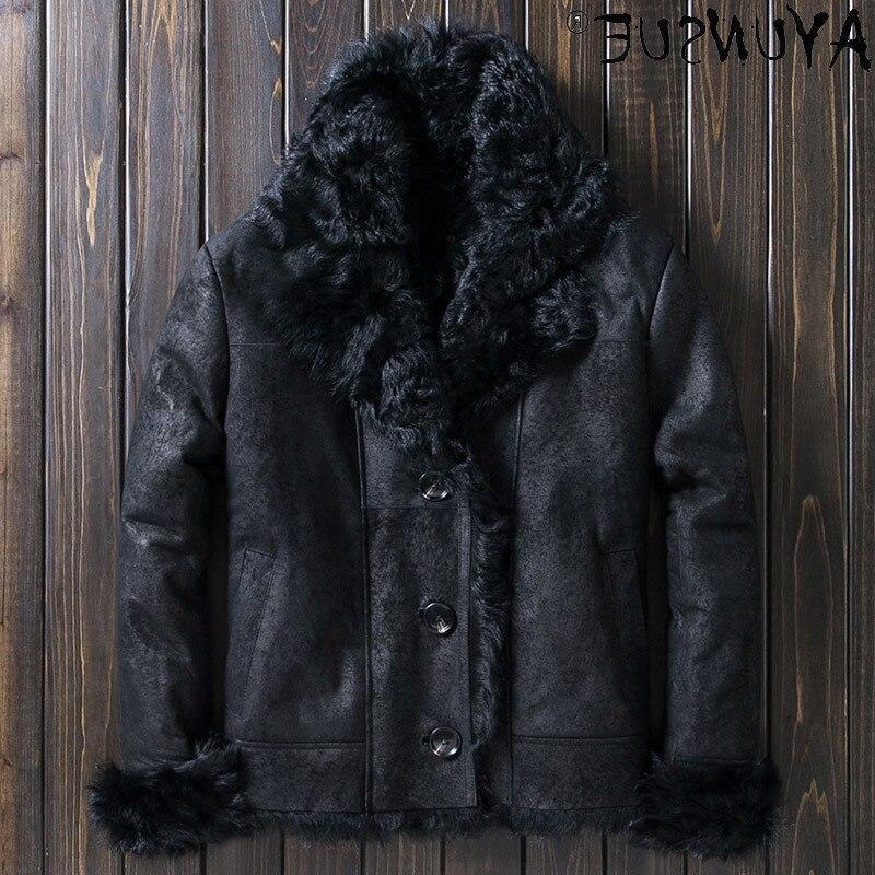 2021 حقيقية جلد الغنم سترات من الجلد للرجال الشتاء سترة معطف الأغنام القص الحقيقي الذكور الملابس سميكة Veste LXR1075