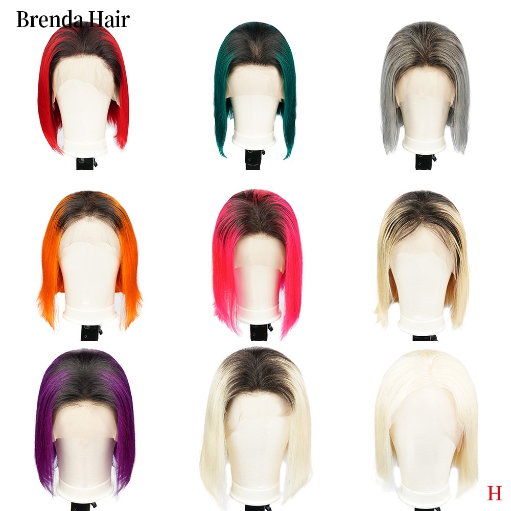 Ombre Bob Spitze Vorne Perücken Menschliches Haar 13X6 Pre Gezupft 150% Dichte Blonde Blau Rot Grau Grün Kurze Bob Perücken für Schwarze Frauen