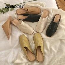 Mule chaussures femmes pantoufles plates bas talon carré dames paresseux diapositives décontracté sans lacet mocassins femme mode confort chaussure femme