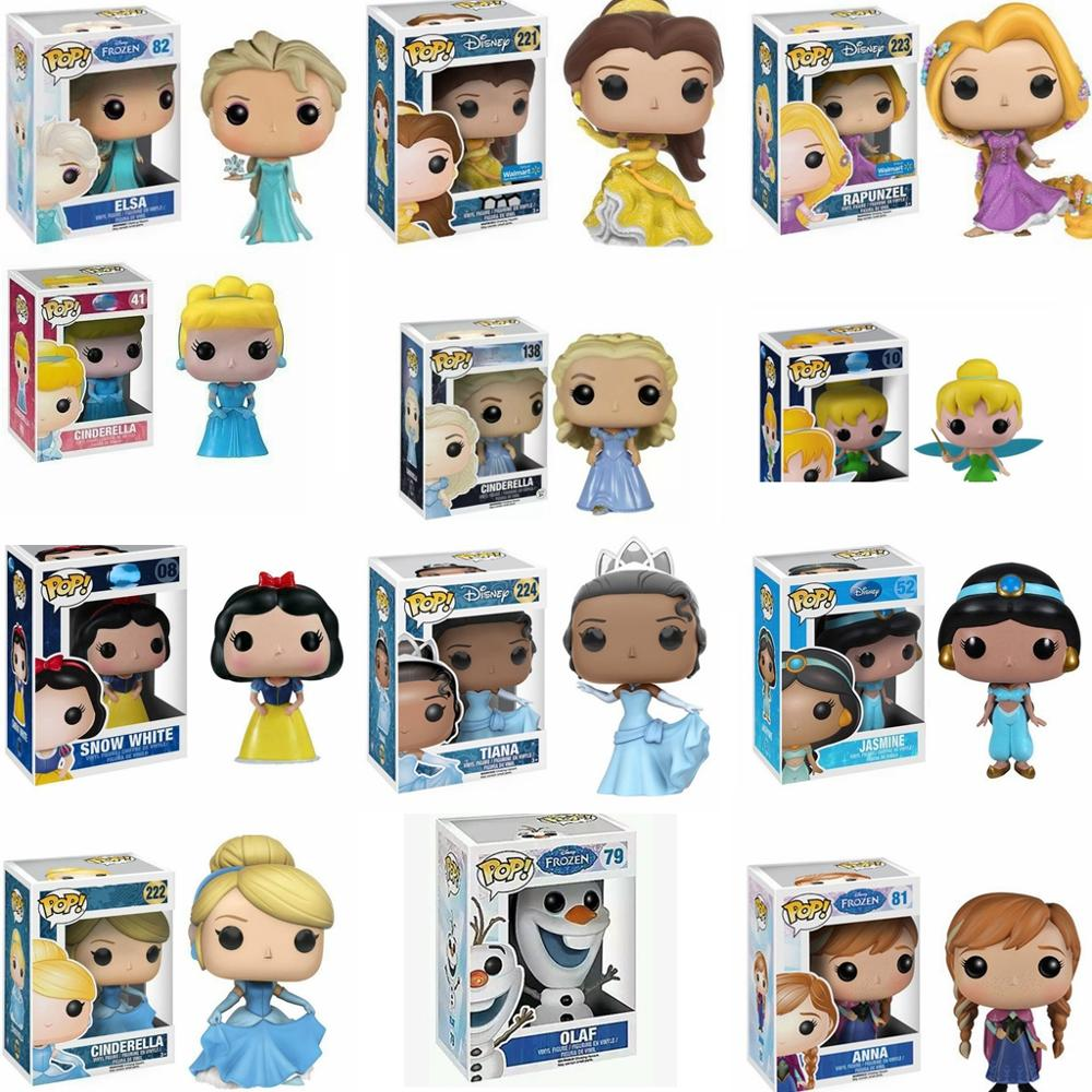 Funko pop-figuras de acción de frozen, Ariel, Rapunzel, Cenicienta, Tiana, modelo en PVC, regalo de colección