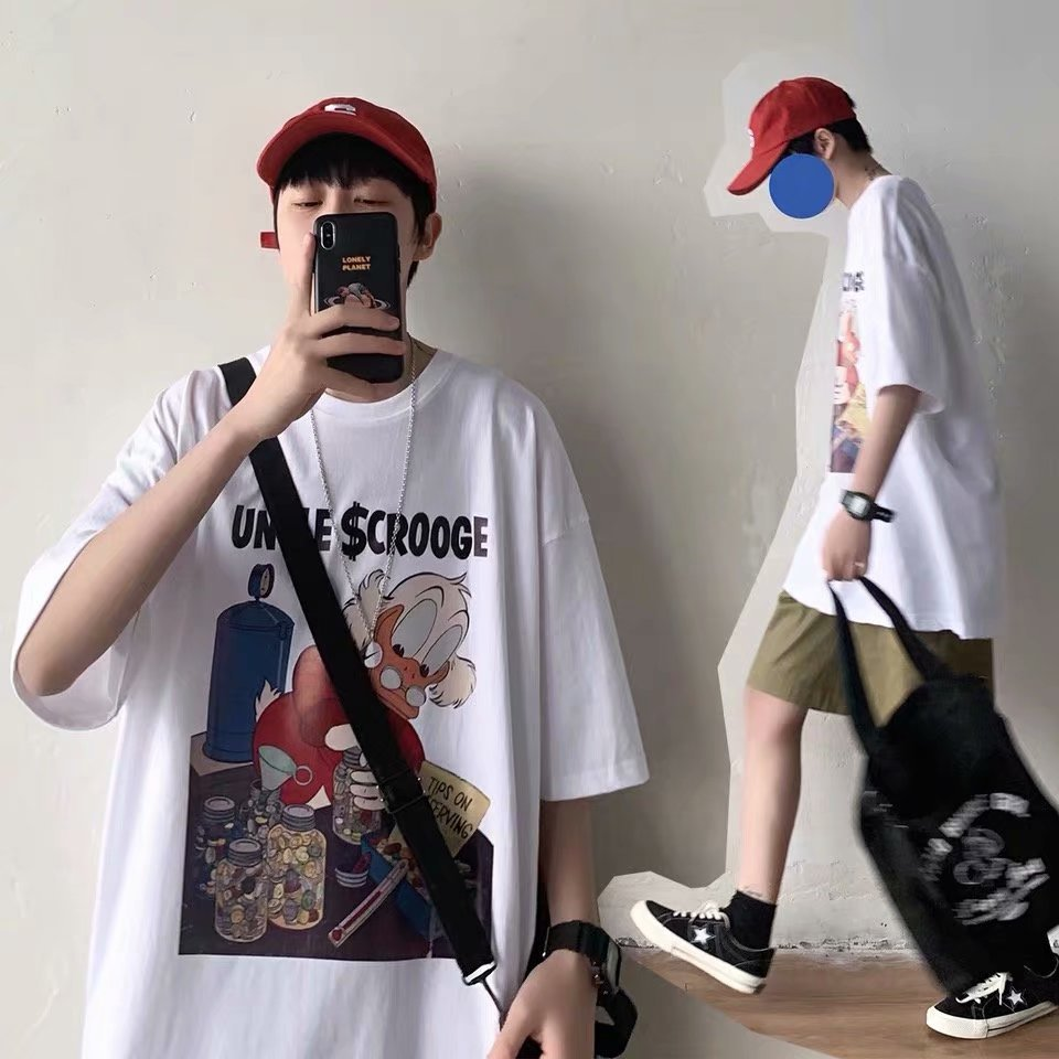 Summer Hip Hop Short Sleeve Boys and Girls Harajuku Style Korean Style Ins Loose Couple Outfit Half-Length Sleeves T-shirt Top
