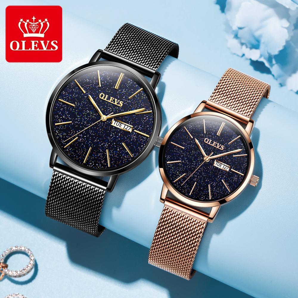 OLEVS luxury brand watch female lover rose gold quartz watches mesh belt fashion couple watch male Relogio Masculino