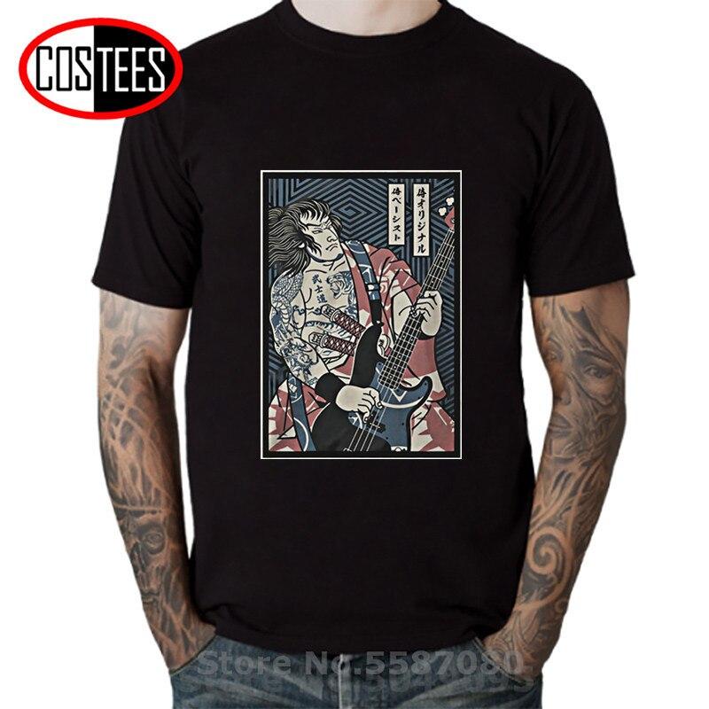 Proveedor de EE. UU. Vintage Samurai guitarra camiseta hombres Rock música camiseta Retro bajo guitarra Tatooine negro Heavy Death Metal camisetas