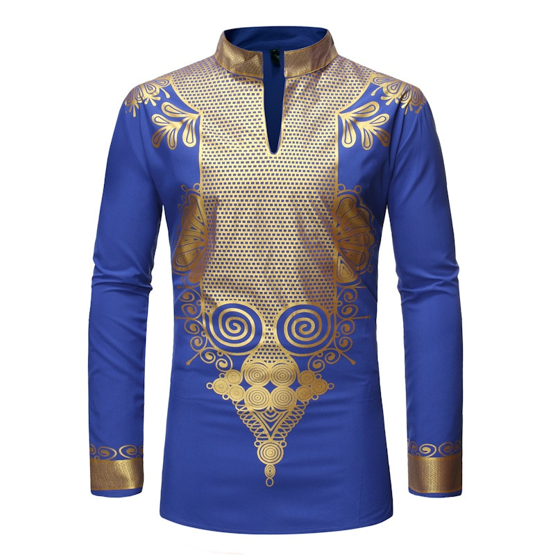Mens African Dashiki Print Shirt Men African Clothes Hipster Streetwear African Shirts Men Traditional Casual Outfits Attire XXL