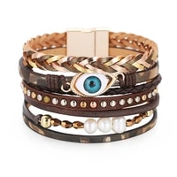 new fashion crystal pearl shell multilayer leather bracelet bangles woman vintage eye wrap charm bracelets jewelry 2020