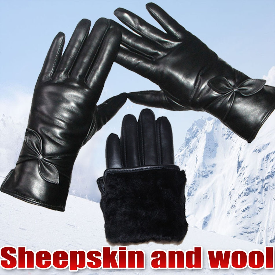 Leather Fur Sheepskin Gloves Womens  Wool Thick Warm Real Winter Touch Screen Windproof