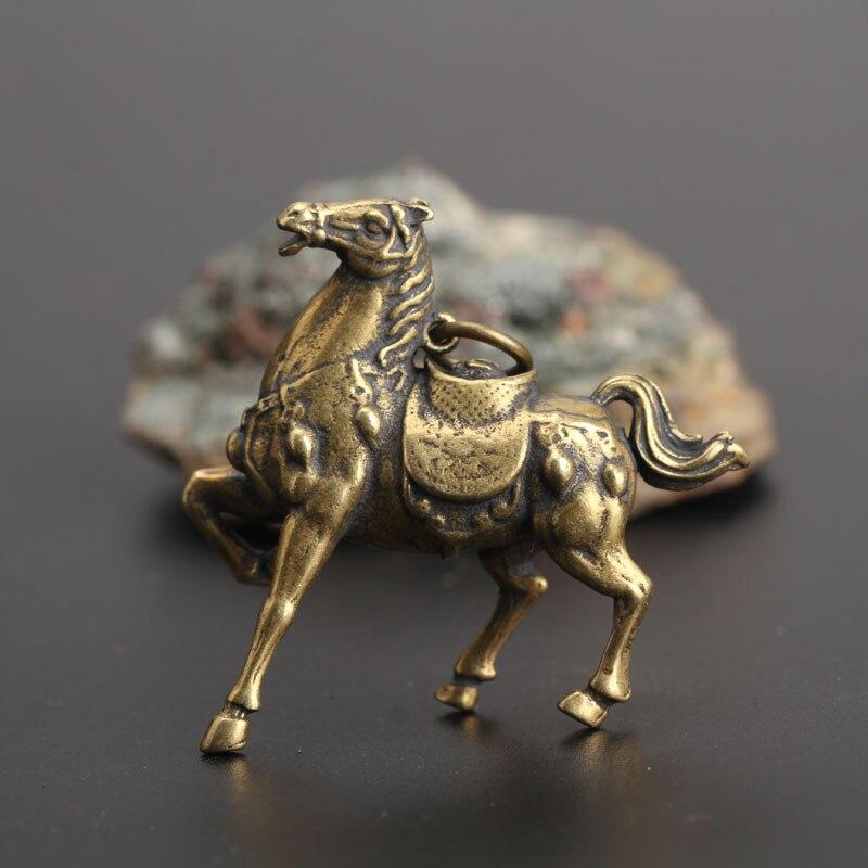 Медные фигурки лошадей для бега войны, маленькие украшения, винтажный латунный брелок для ключей фэн-шуй