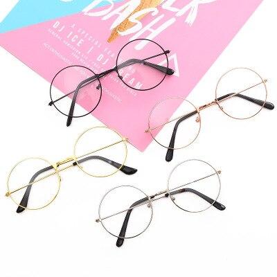 Japan Anime harajuku style Cute girl Round Eyewear Round frame glasses Beautiful young woman PP Eyewear accessories