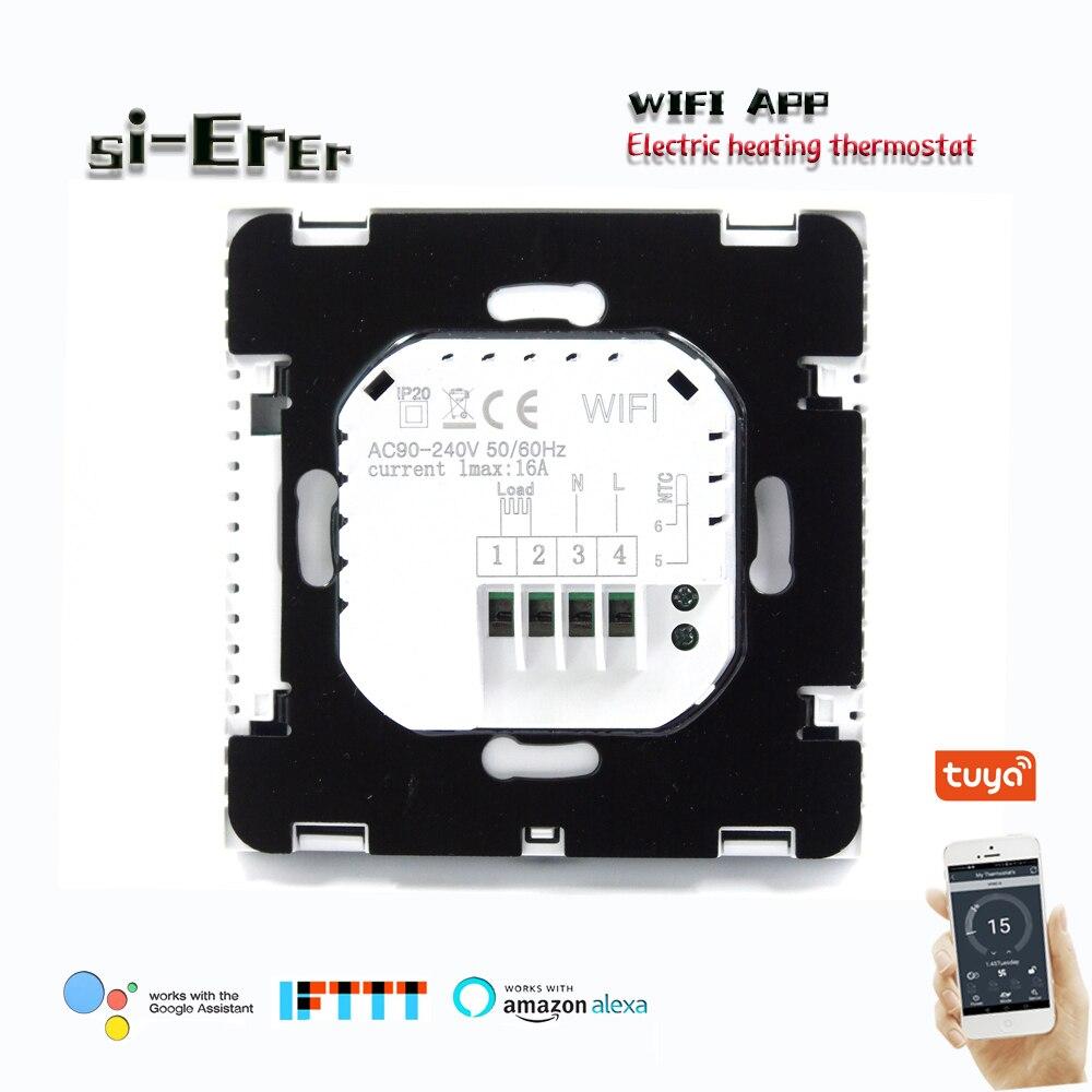 ترموستات كهربائي للتدفئة 16 أ ، تحكم دقيق بزاوية 0.5 درجة ، واي فاي ترموستات ، تحكم اتصال تطبيق الهاتف الخلوي