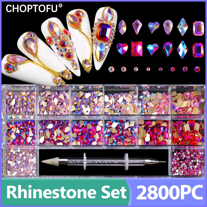 2800PC/Box Luxury Nail Rhinestone Set Diamond Crystal Rhinestones Kit FlatBack Sparkling Nail Art With 1 Pen For Decorations