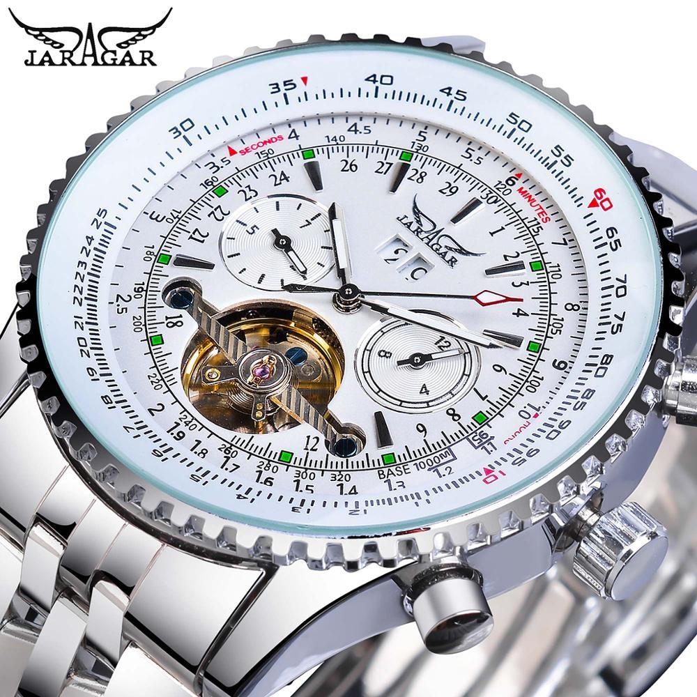Jaragar Classic Tourbillon Men Mechanical Watch White Automatic Calendar Big Dial Stainless Steel Band Military Pilot Wristwatch