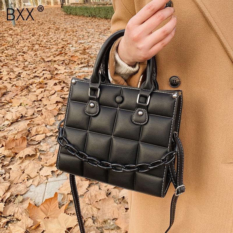 [BXX] Winter Retro Chain Handbag 2021 New Fashion High Quality PU Soft Leather Women's Designer Shoulder Crossbody Bag HP998