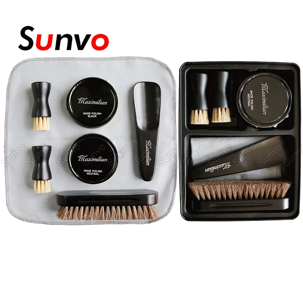 Sunvo Leather Shoe Brush Care Kit Portable Shoehorn Shoe Polish Cleaner for Leather Shoes Cleaning Nourishing Polishing Tool bristles become warped head shoe brush polishing leather shoes polish wipe scrub fur soft hair
