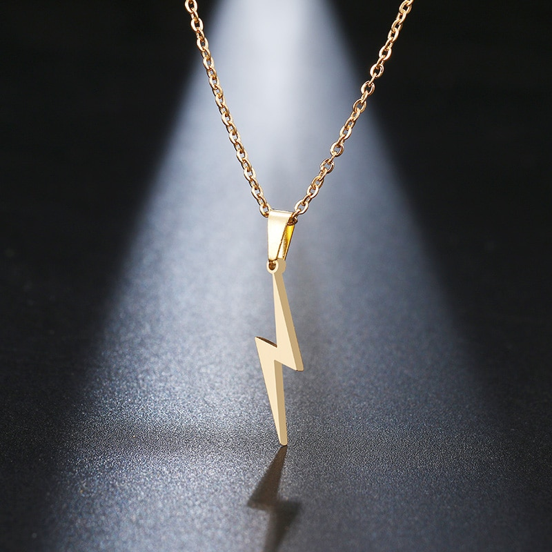 Rinhoo Stainless Steel Necklace Hot Lightning Necklaces For Women Protection Pendants For Girlfriend Gifts Silver Color Jewelry
